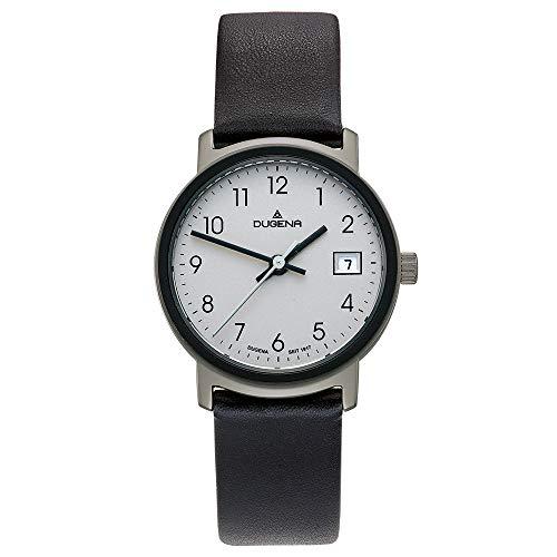 DUGENA Nero Damen-Armbanduhr, Edelstahlgehäuse, Mineralglas, Lederarmband, Dornschließe, 5 bar (Silber/schwarz)