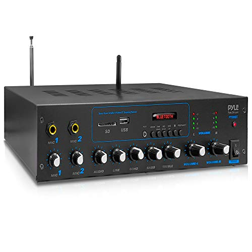 Pyle Professional Powered Amplifier & Bluetooth Receiver Stereo Audio System, FM Radio, (2) 1/4'' Microphone Input Jacks, MP3/USB/SD/AUX Playback, LCD Display ID3 Tag Readout 600 Watt - PT506BT.5