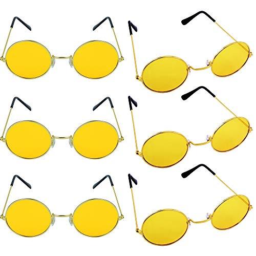 German Trendseller® 6X Gafas John Lennon - Amarillo - Diseño Hippie Flower Power ┃Gafas de Colores┃Ultra Narciso Amarillo┃Gafas de Paz ┃6 Piezas