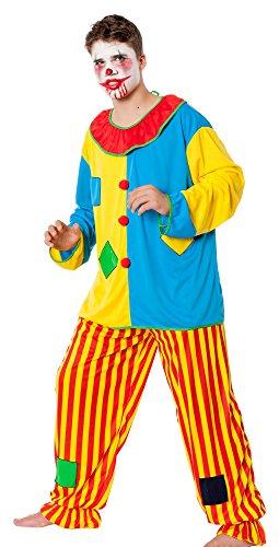 r-dessous Horror Clown Kostüm Herren Killer Grusel Harlekin böser Clownkostüm Halloween Motto Party Groesse: L/XL