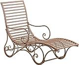 CLP Chaise Lounge De Exterior Amiens En Estilo Rústico I Tumbona De Jardín En Hierro con Reposabrazos, Color:Antiguo marrón