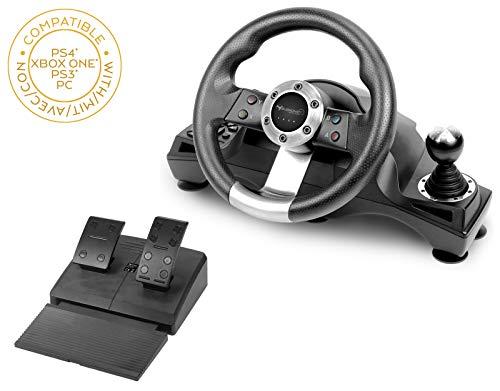 Subsonic - Volant de course Drive Pro Sport avec pédalier, palettes et levier de vitesse pour Playstation 4 - PS4 Slim - PS4 Pro - Xbox One - Xbox one S – PC - PS3 (compatibles tous jeux)