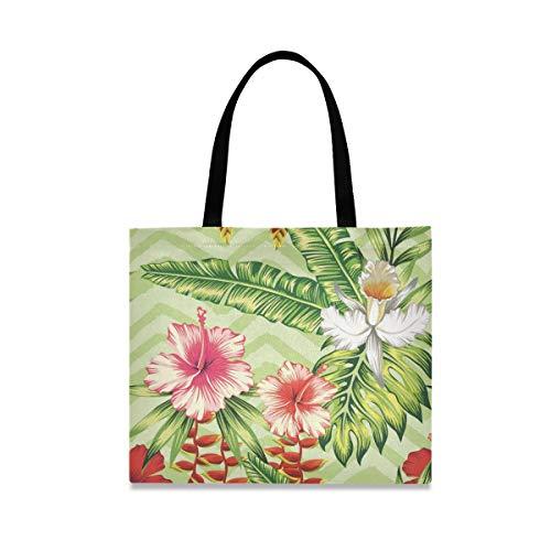 XiangHeFu Lässige wiederverwendbare Bananenpalme Blätter und Blumen Rot Rosa Hibiskus Weiß Orchidee Mode Handtasche Schulter Einkaufstasche Große Kapazität