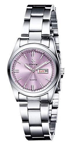 Damen-Armbanduhr, leuchtend, wasserdicht, Kalender, Edelstahl, Quarz-Armbanduhr 29mm violett