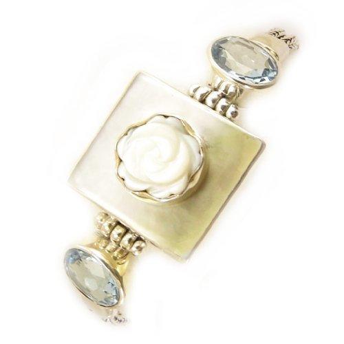 Les Trésors De Lily [D5933 - Armband Silber 'Sapa' Perlmutt/Blauer topas.