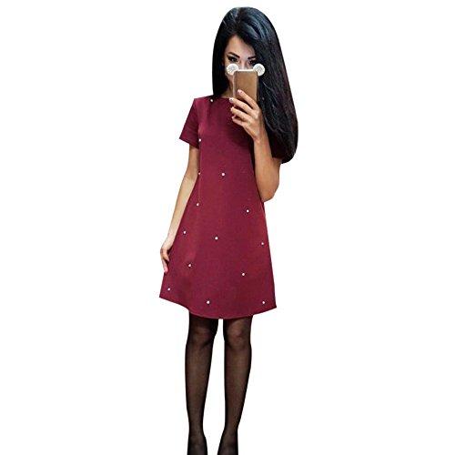 Frauen elegantes gerade Kleid, hansee Casual Solid Fashion O Hals aufreihmaterialien Kleider, damen Mädchen, 0814, wein