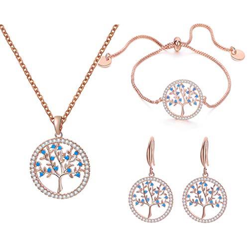 SALAN Silvery Jewelry Sets For Women Blue Cz Choker Necklace Adjustable Bracelet Tree Of Life Earrings Engagement Jewelry