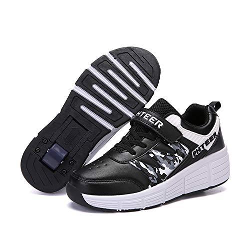 Miarui Zapatillas de Skate con Ruedas, Skateboarding Zapatos con Ruedas, Aire Libre Patines Deportes Ajustable Rueda Automática, para Niños Niñas,Negro,39