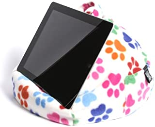iPad Pillow & Tablet Stand - Securely Holds Any Size Tablet, eReader or Book Upto 12.9 inches, Hands Free Comfort at Any Angle on Any Surface - Paw Print, by iBeani