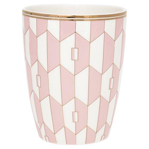 GreenGate Gate Noir - Latte Cup Latte Macchiato Becher, Kaffeebecher - Aurelie Pale Pink - Porzellan