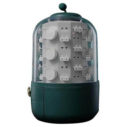 cherrypop Almacenamiento de gran capacidad antideslizante 360 grados giratorio a prueba de polvo caja de joyería de escritorio pendientes collar exhibición - verde