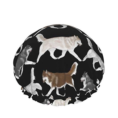 Gorras de ducha para mujeres hombres y niños elásticos reutilizables bañadores captadores de pelo (Trotting siberian Husky Border B)