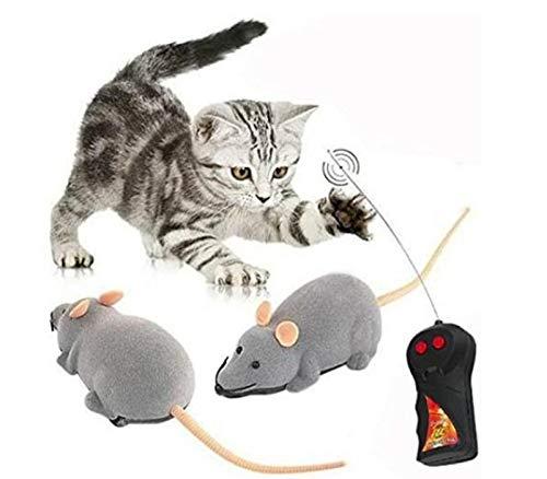 Jobewnipz Lustiges Katzen- und Hundespielzeug,Realistisches Mausmodell,Elektrische Drahtlose Fernbedienung Ratte Maus Spielzeug Haustier Katzen Spielzeug Maus für Haustiere, 15 x 6cm (Grau)