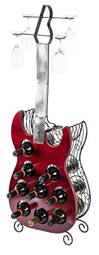 Vintiquewise Decorative Wine Holder Vintage Wood and Metal Guitar Shaped 9 Bottle Freestanding, Large, Red