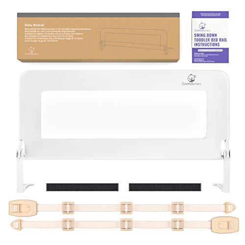 Toddler Bed Rail Guard for Kids Twin, Double, Full Size Queen & King Mattress - Bed Rails for Toddlers - Universal Fit for Slats & Boxspring - Children & Baby Bedrail by ComfyBumpy (White Reg)…
