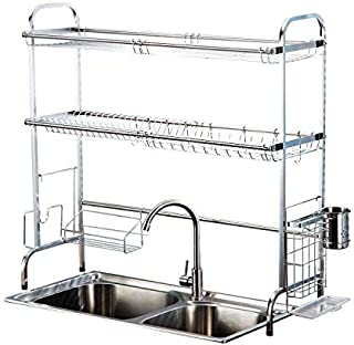 SUS 304 Stainless Steel 2 Tier Dish Rack 2 Layer Over Sink Dish Rack Dinnerware Drying Rack Counter Top Dish Storage Rack Dish Drying Rack Kitchen Storage Rack Cutting Board Holder Utensil Silver