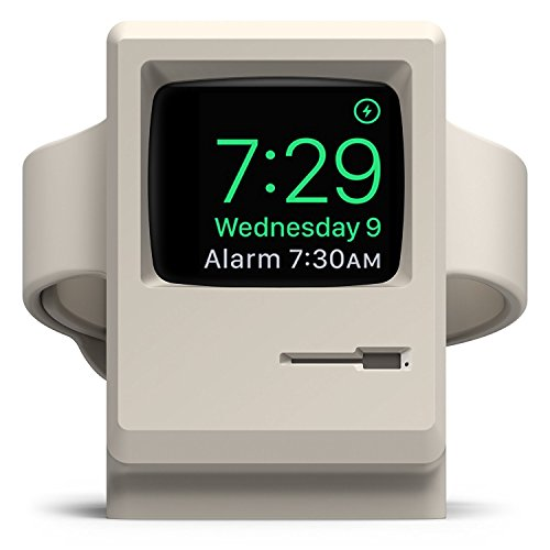 elago Supporto W3 Stand Compatibile con Apple Watch Serie 5 (2019) / Serie 4 / Series 3 / Series 2 / Series 1 / 44mm / 42mm / 40mm / 38mm - Stand Notturno, Design 1984 Macintosh (Bianco)