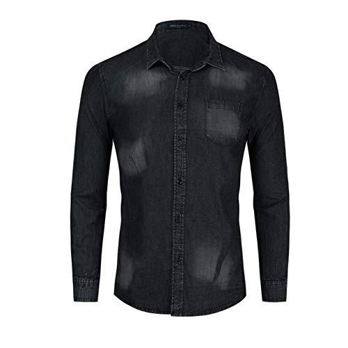 Camisa de Dril de algodón de los Hombres con Mangas largas Camisa de Trabajo, Resistente al Desgaste y Resistente a Las Manchas Camisa Ocasional del Bolsillo