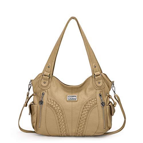 KL928 Damen Handtasche Leder Taschen Umhängetaschen Schultertaschen Henkeltaschen Hobo Tasche Weiches Damentasche für Frauen (Beige)