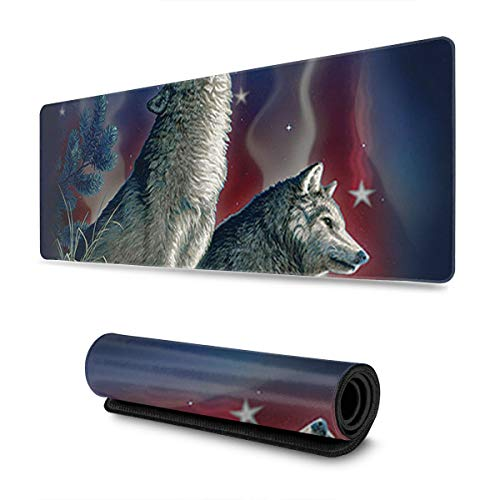 American Flag Wolves Design Pattern XXL XL Large Gaming Mouse Pad Mat Long Extended Mousepad Desk Pad Non-Slip Rubber Mice Pads Stitched Edges (31.5x11.8x0.12 Inch)