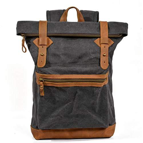 JKHOIUH Men's Vintage Canvas Leather Backpack Large Travel Rucksack Bookbag Satchel College Student Daypack Waterproof backpack Notebook Backpack (Color : Dark gray)