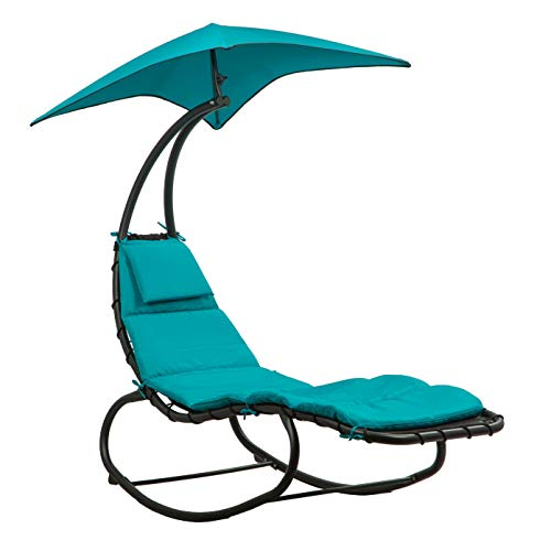 BELLEZE Outdoor Hanging Chaise Lounge Chair Swing Curved Cushion Seat Hammock with Canopy Sun Shade, Blue