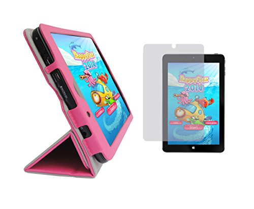 """iShoppingdeals - Tulip Pink Folding Folio Cover Skin Case and Clear Screen Protector for Insignia Flex 8"""" Windows Tablet (Model NS-15MS08 Only)"""