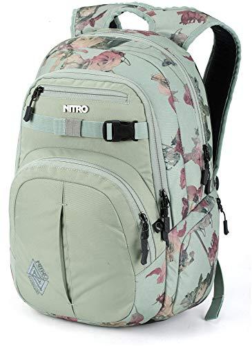 Nitro Chase Rucksack, Schulrucksack mit Organizer, Schoolbag, Daypack mit 17 Zoll Laptopfach, Dead Flower, 35L