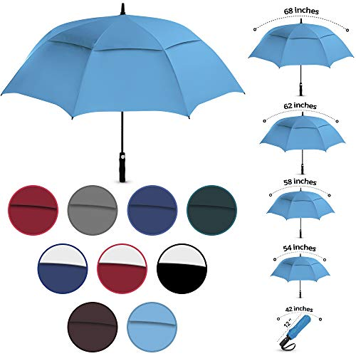 "Viteps Large Golf Umbrella | Big Golfing Umbrella for Wind and Rain | Double Canopy Wind and Waterproof Design | Durable Fiberglass Design | Strongest Umbrella (Light Blue, 68"")"