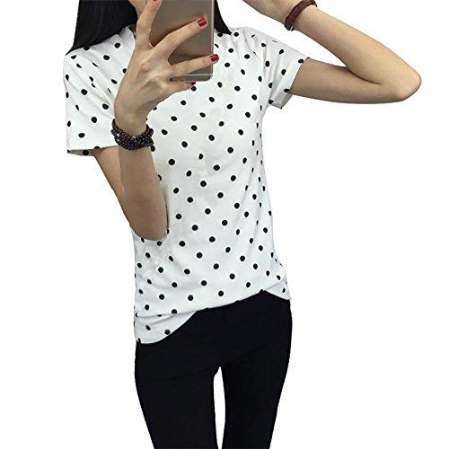 Fedi Apparel Women's Summer Short Sleeve T-Shirt O-neck Blouse Polka Dot Tops