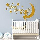 Vinilo adhesivo decorativo para pared, diseño de hada de dulces sueños, hada y luna,...