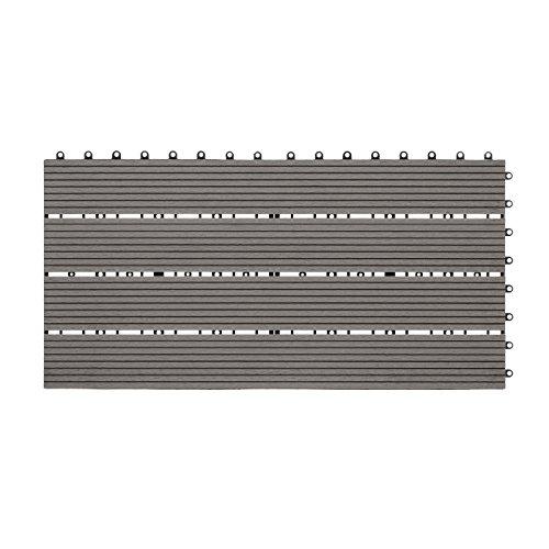 WPC Holz Kunststoff Fliesen Terrassenfliesen Klickfliesen Balkonfliesen 1 Stück (30 x 60 cm Standard, Grau)