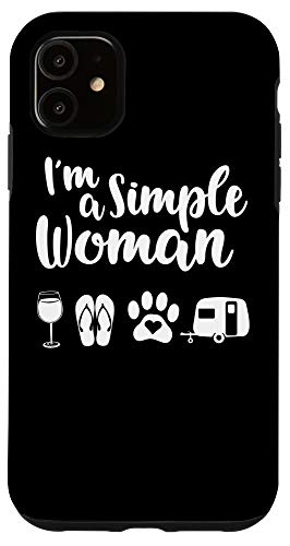 iPhone 11 I'm A Simple Woman Love Wine Flip Flop Dog Camping Gift Case