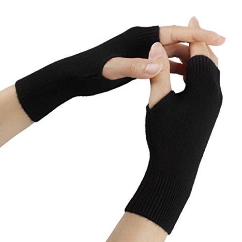 Larcele Kaschmir Damenwärmer Fingerlose Handschuhe BZST-02 (Schwarz) MEHRWEG