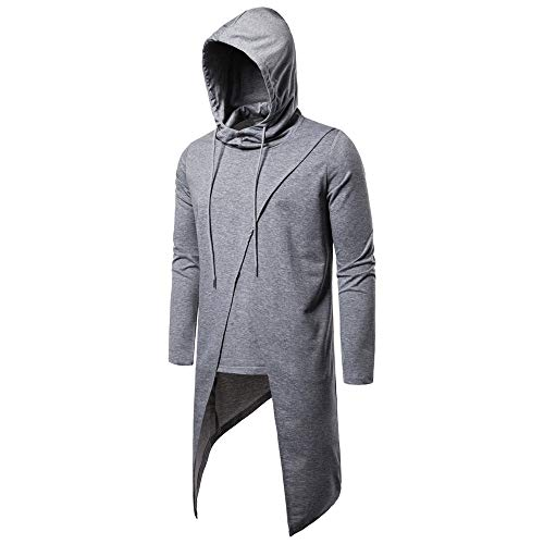 ZZOU Men's The Trend of Personality Asymmetrical Hem Design T-Shirts Printed Casual Fashion Comfortable Contrast Color Hooded T-Shirt Hoodie Pullover Top Stitching Round Neck Undershirt