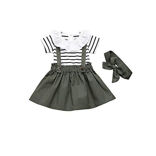 T TALENTBABY Conjunto de ropa para bebé niña, vestido negro y blanco, a rayas florales, con volantes y falda de liguero y cinta para la cabeza, conjunto de ropa verde oscuro 0-6 Meses