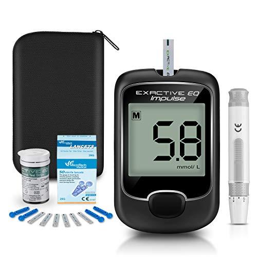 Diabetes test kit glucosio nel sangue kit di monitoraggio della glicemia con 25 strisce reattive e 50 lancette per diabetici in mg/dL di Exactive EQ Impulse