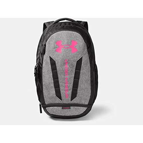Under Armour Hustle 5.0, Durable and comfortable water resistant backpack, spacious laptop backpack Unisex, Grey (Jet Gray / Jet Gray Medium Heather / Cerise), one size