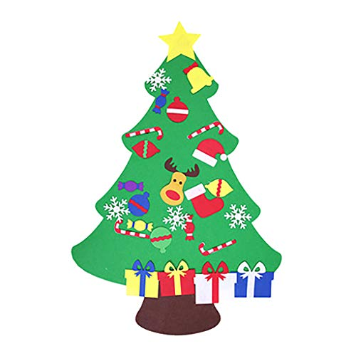 WOSHA DIY Felt Christmas Tree for Toddlers, Kids 3D Christmas Tree Set Detachable Ornaments Home Door Wall Hanging Xmas Decorations Gift