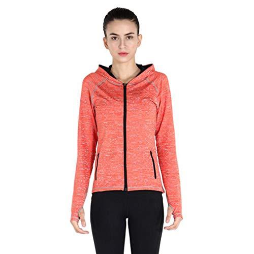 F-S-B Frauen-Sportjacke Fitness Top schnell trocknend atmungsaktiv Reißverschluss Hoodie windundurchlässige Lange Hülse dünne Yoga-Kleidung,B,XL