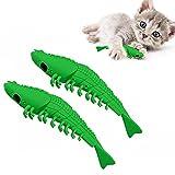 EKKONG Cepillo de Dientes del Gato de Juguete, 2 Piezas Juguetes Interactivo para Gatos con Catnip, Juguete de Limpieza de Dientes de Palillo Molar de Silicona para Mascotas para Gatos