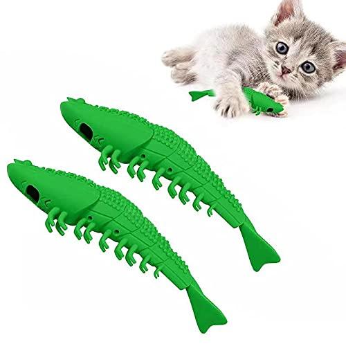 EKKONG Gatto Spazzolino da Denti, Giocattolo Catnip Interattivo Gatto, Gattini Gatti Giocattolo da Masticare per La Cura Dentale Aiutano Giocando ad Eliminare Alitosi