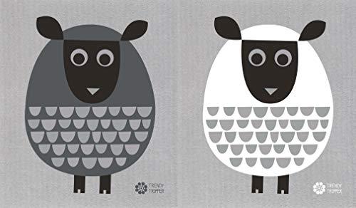 Trendy Tripper Schwedische Geschirrtücher, Set mit 2 verschiedenfarbigen modernen Schafen auf grauem Tuch: je 1 weiß + dunkelgrau