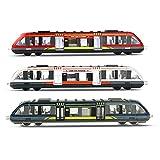 Juguete de tren para niños, juego de tren de locomotora de alta velocidad modelo fundido, aleación de alta velocidad de carril de juguete para niños modelo de tren de juguete (3 piezas)