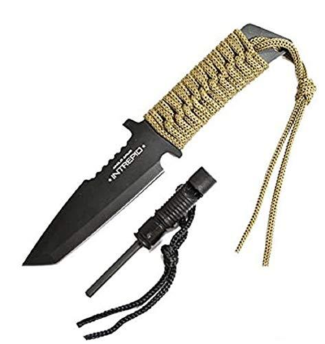 Anglo Arms Outdoormesser Fahrtenmesser Intrepid schwarz inkl Etui Pfeife Zündstein multifunktional