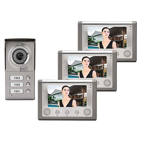 Timbre con Videoportero con Monitor LCD de 7'para Apartamentos de 3 Unidades, Teléfono con Audio Visual en la Puerta, Sistema de Entrada con Timbre con Intercomunicador de Dos Vías