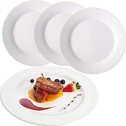 Tableware Plate White Dinner Plate Set 4 Piece 8 Inch Melamine Dinner Plates Classic Round Dinnerware With Wide Rim Elegant White Serving Plates Salad
