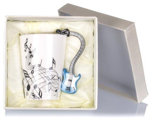 """Keramiktasse mit Motiv Henkel – Weiß Bedruckt """"E-Gitarre"""" Design ca. 0,2l – Tee & Kaffee Tasse zum Verschenken – Grinscard - 9"""