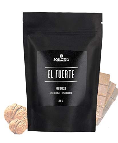 Sollozzo - El Fuerte Espresso ganze Bohnen - Arabica und indische Robusta Espressobohnen mit süßen Aromen und feiner Nuance der Walnuss, 250g