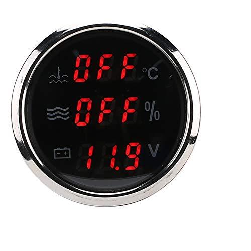 Wassertemperaturmesser, 52 mm 3-in-1-Messger?t Wassertemperatur Spannung Fl¨¹ssigkeitsstandanzeige Europ?ische Norm 0-190 Ohm(schwarz)